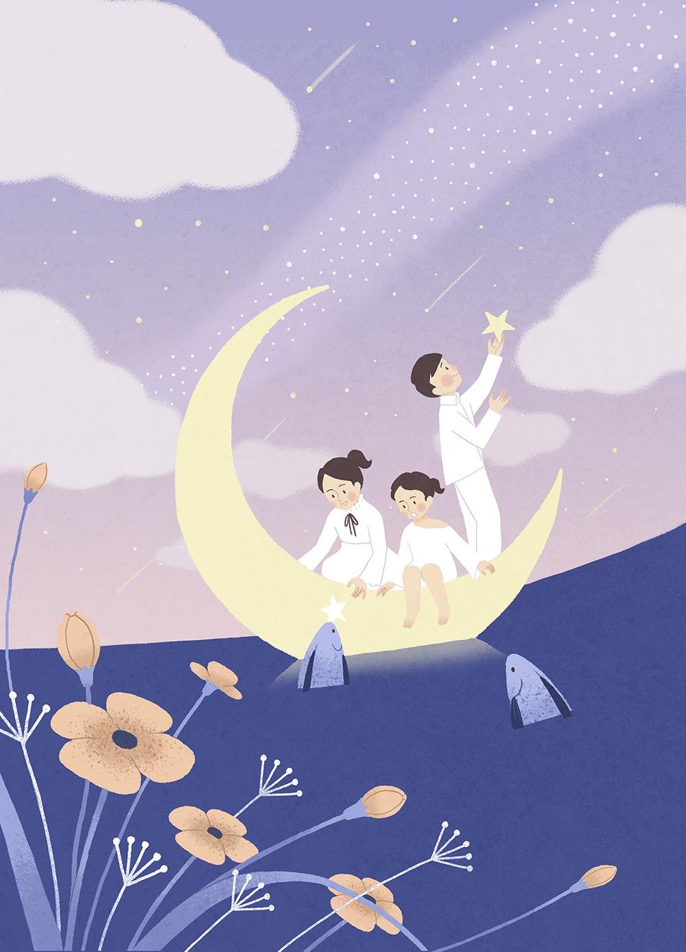 儿童梦想宇宙手绘背景插画PSD素材 插画-第7张