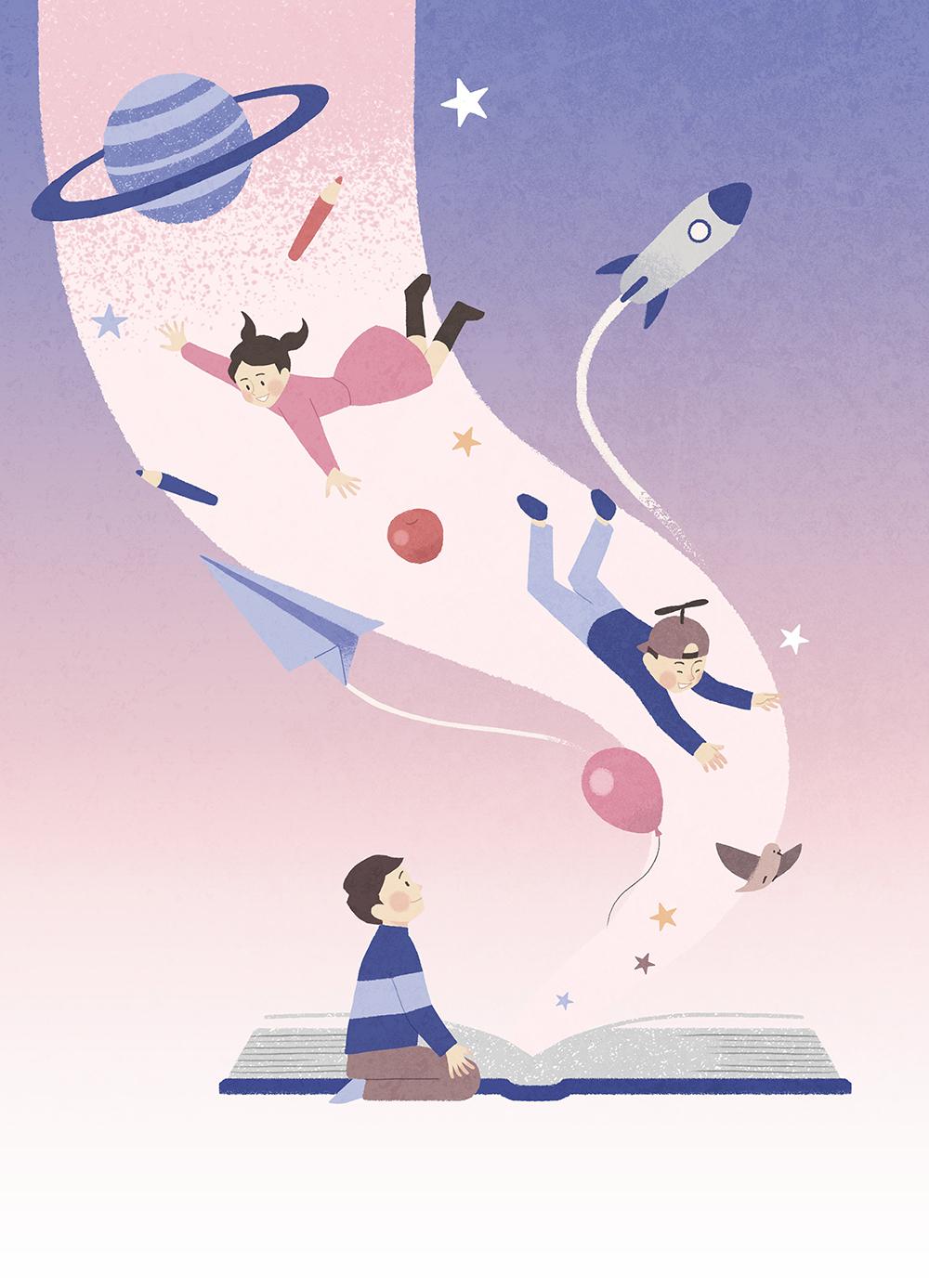 儿童梦想宇宙手绘背景插画PSD素材 插画-第8张