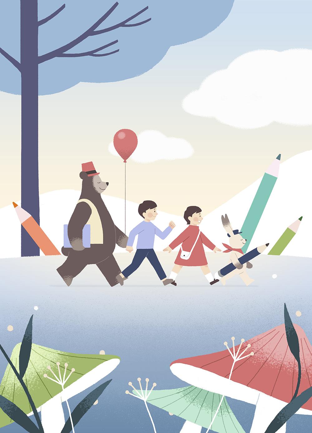 儿童梦想宇宙手绘背景插画PSD素材 插画-第9张