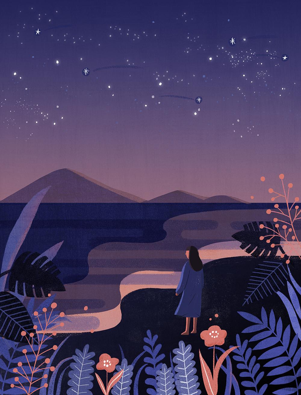 唯美星空系列手绘壁纸插画PSD素材 插画-第1张