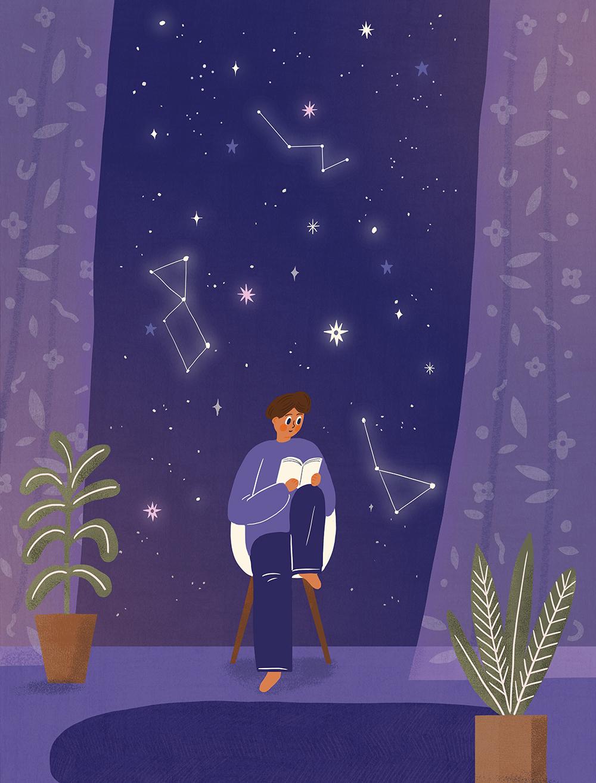 唯美星空系列手绘壁纸插画PSD素材 插画-第2张