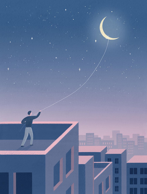 唯美星空系列手绘壁纸插画PSD素材 插画-第3张