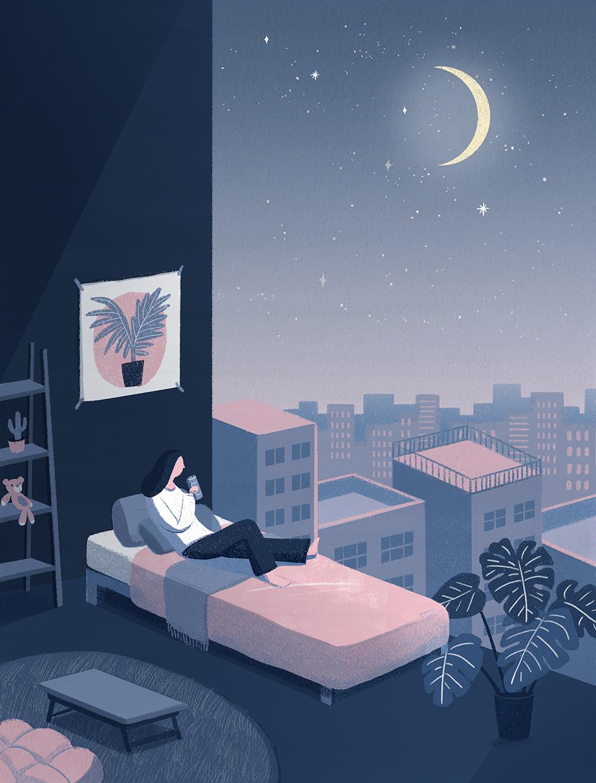 唯美星空系列手绘壁纸插画PSD素材 插画-第4张