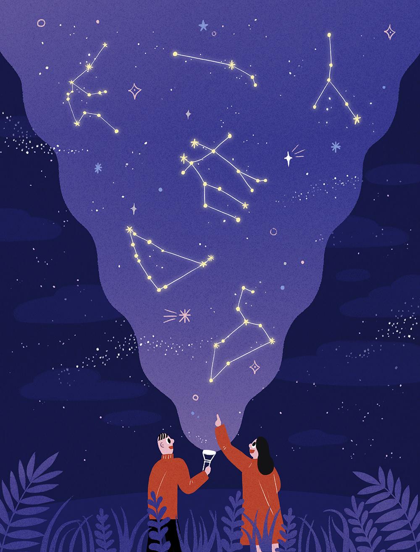 唯美星空系列手绘壁纸插画PSD素材 插画-第5张