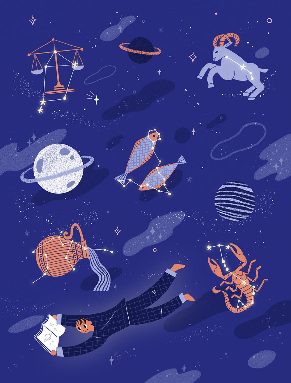 唯美星空系列手绘壁纸插画PSD素材 插画-第6张