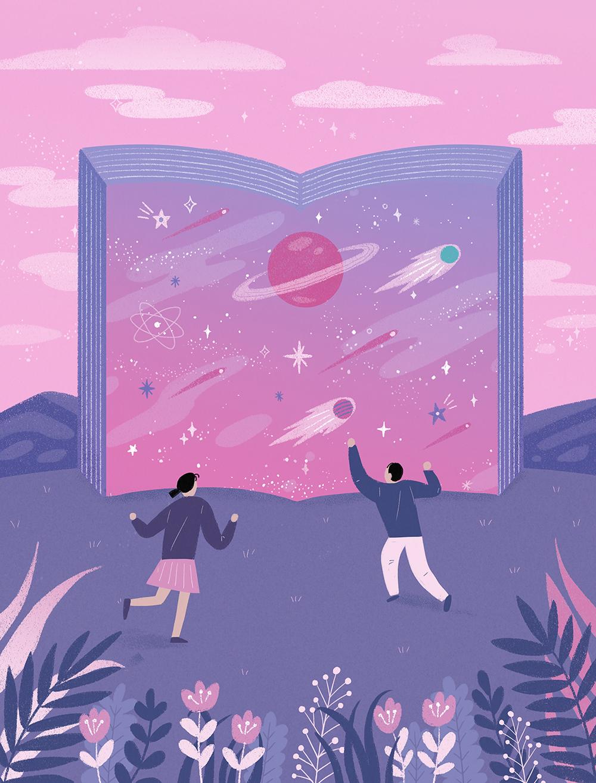 唯美星空系列手绘壁纸插画PSD素材 插画-第9张