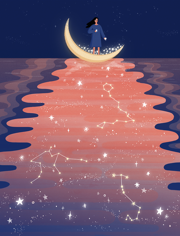 唯美星空系列手绘壁纸插画PSD素材 插画-第10张