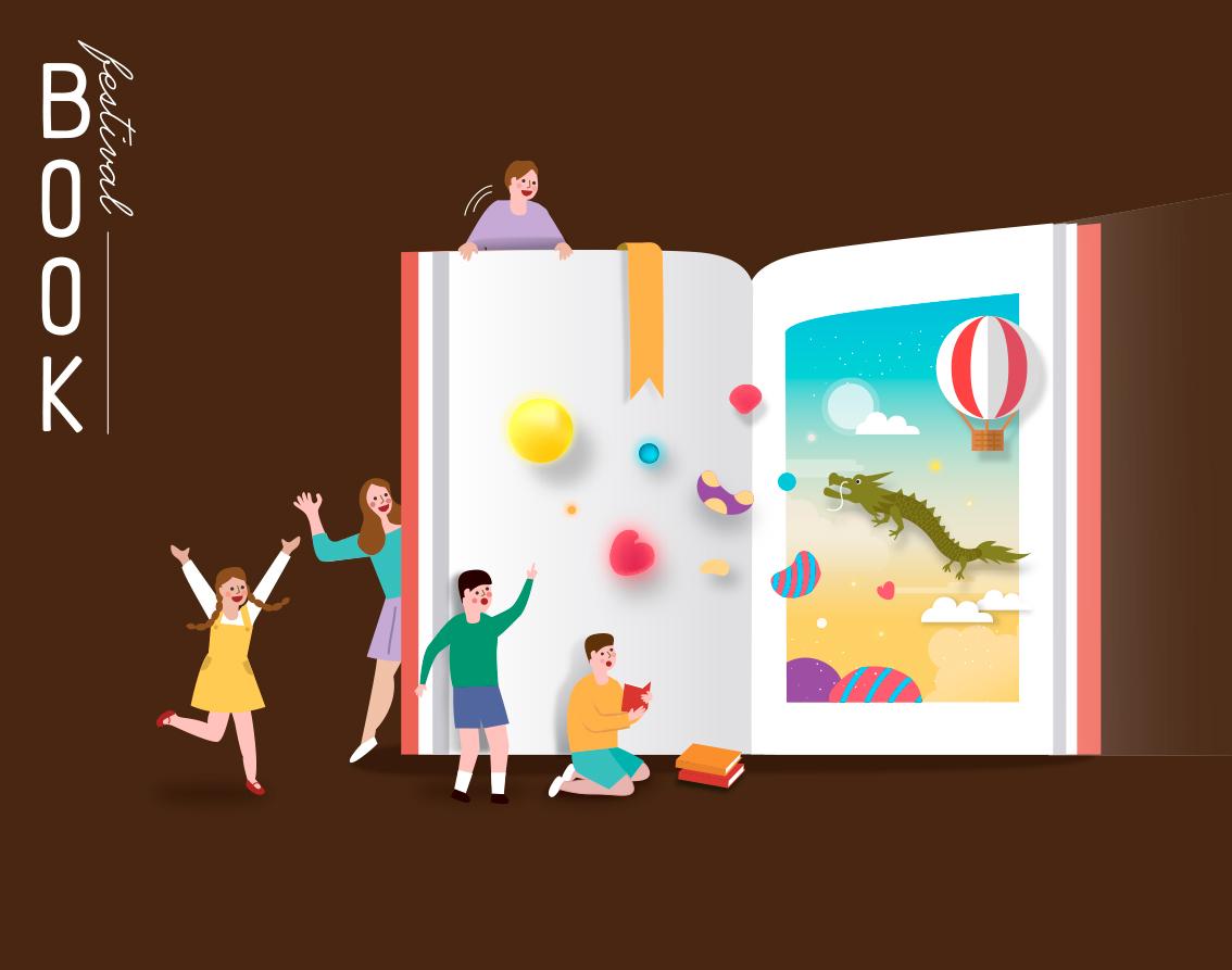 7款卡通手绘书籍阅读2.5D郊游玩耍场景插图插画背景AI设计素材 插画-第7张