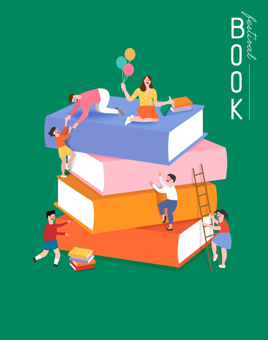 7款卡通手绘书籍阅读2.5D郊游玩耍场景插图插画背景AI设计素材 插画-第5张