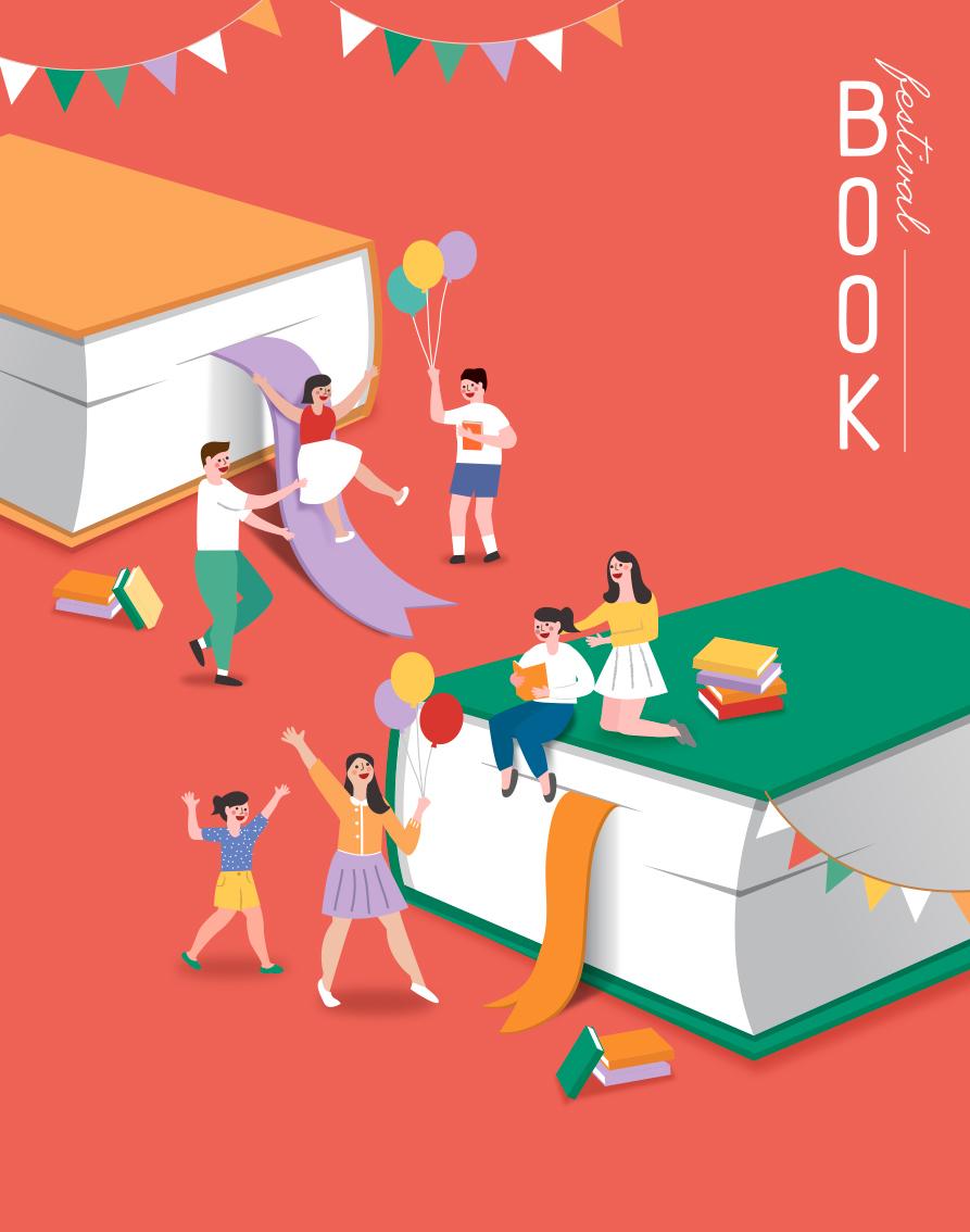 7款卡通手绘书籍阅读2.5D郊游玩耍场景插图插画背景AI设计素材 插画-第3张