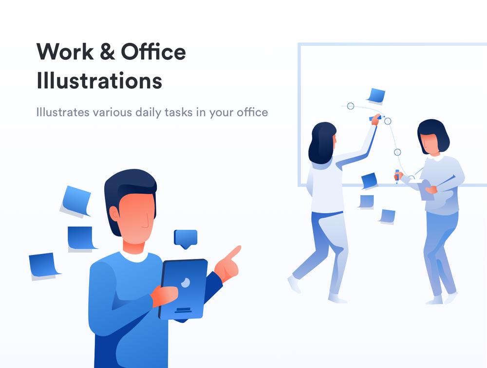 移动版网页版工作和办公室插图包 UI界面-第1张