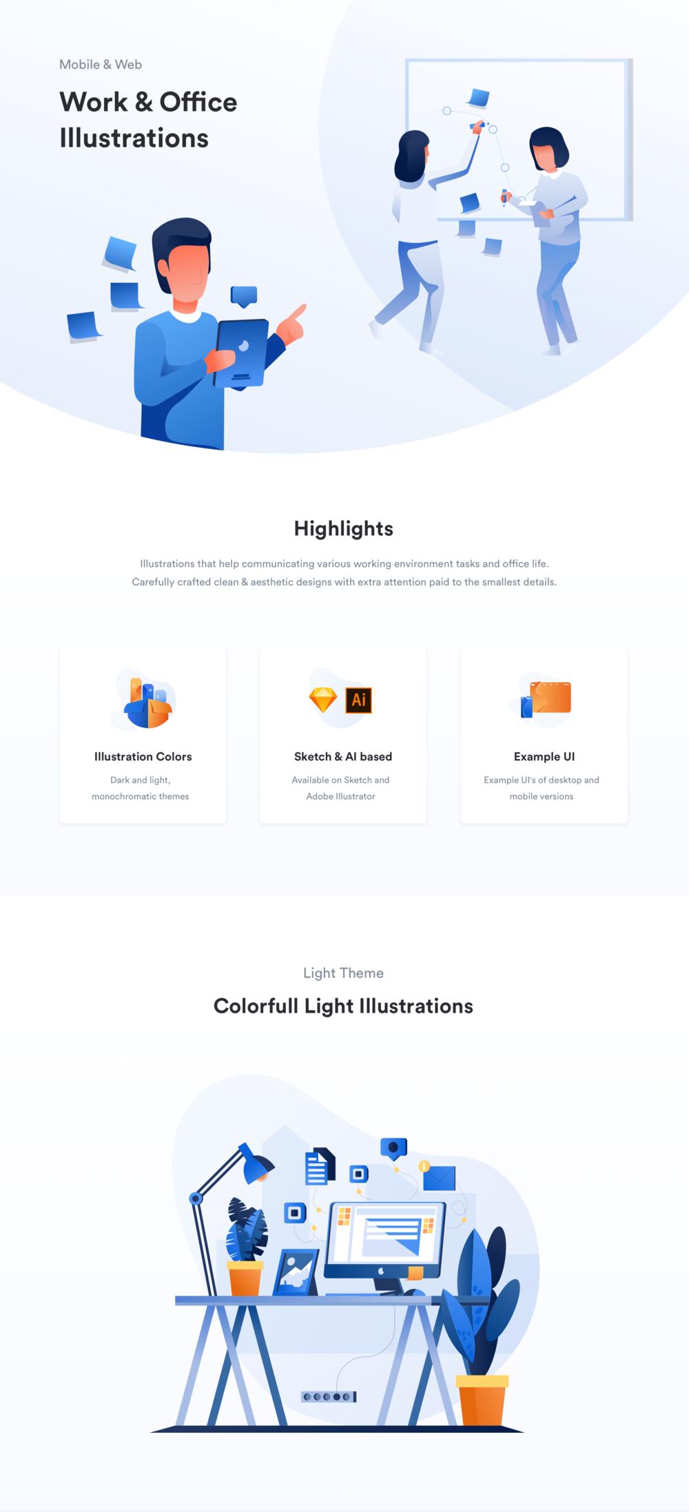 移动版网页版工作和办公室插图包 UI界面-第7张