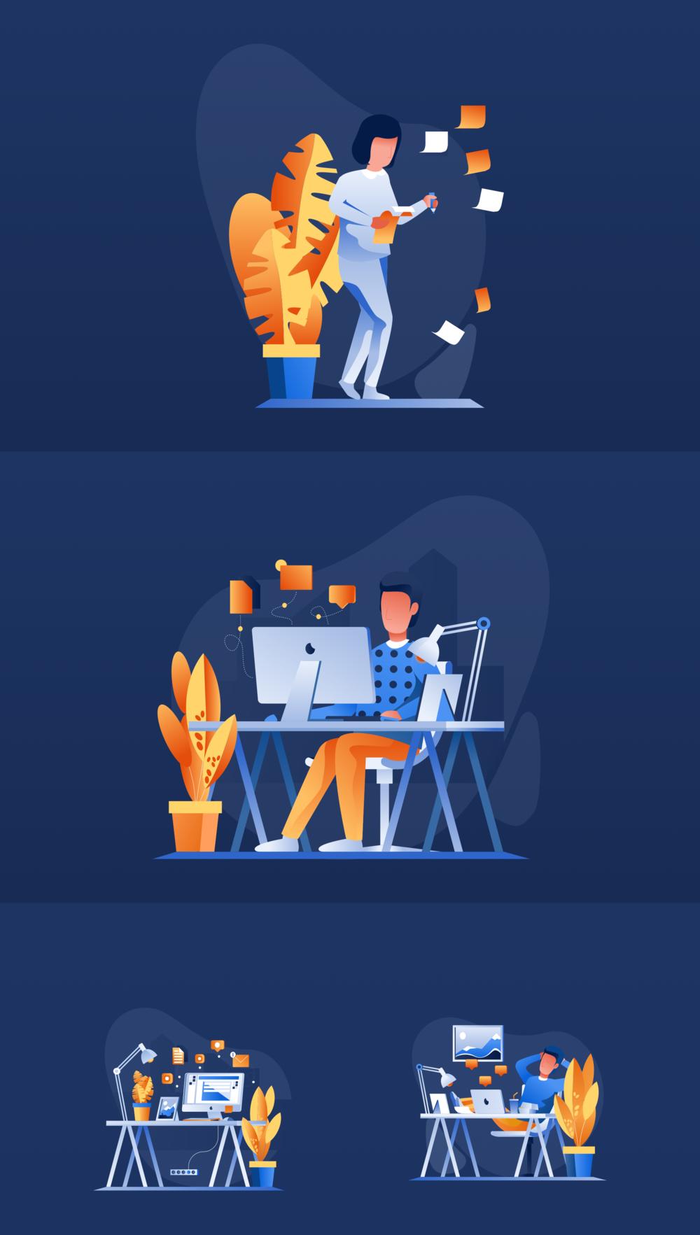 移动版网页版工作和办公室插图包 UI界面-第12张