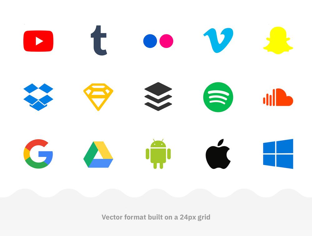 60个流行的社交媒体和数字产品品牌图标 元素-第2张
