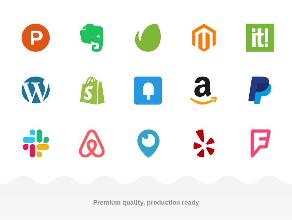 60个流行的社交媒体和数字产品品牌图标 元素-第3张