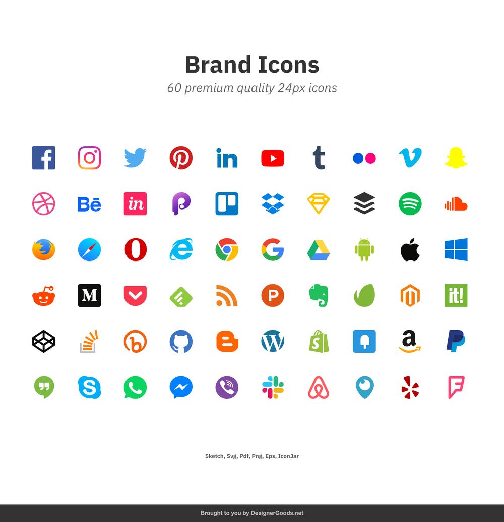 60个流行的社交媒体和数字产品品牌图标 元素-第5张