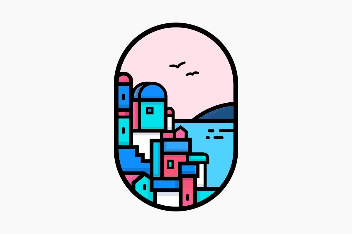 用线造景——绘制梦幻般的希腊小镇风景