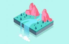 AI绘制3D矢量风格悬浮森林插画