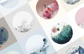 18张手绘中国风水墨圆形AI矢量素材