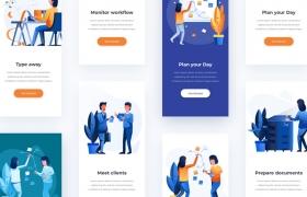 移动版网页版工作和办公室插图包