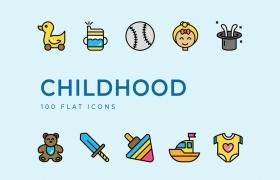 100个儿童扁平图标集